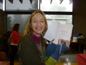 Jessa Slade autographs her book as a gift to one of my day job peeps.