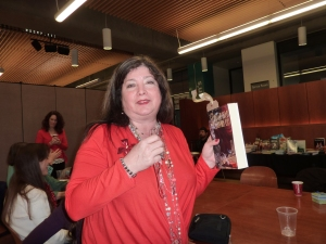 The lovely Anna Brentwood with her debut book, The Songbird with Sapphire Eyes.